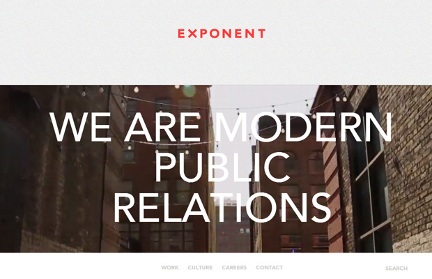 exponent pr public relations firm website layout