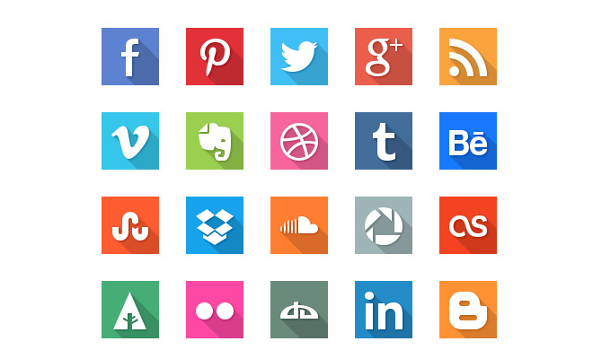 forty flat social media icons square shapes
