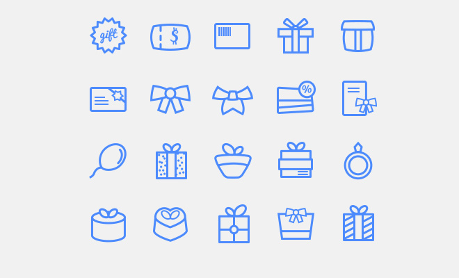 20 freebie line icons gifts