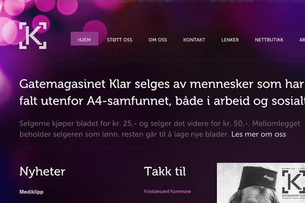 Klaras purple portfolio studio website design