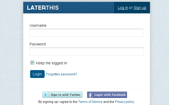 laterthis bookmarking social media startup login form