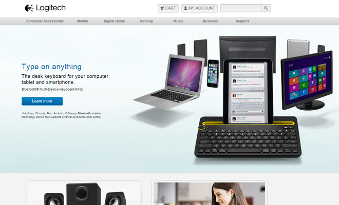 logitech gadgets technology website layout