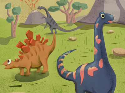 dinosaurs illustration website interface layout designs