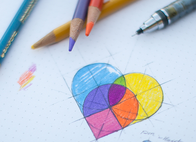 colorful map pins sketch heart shape