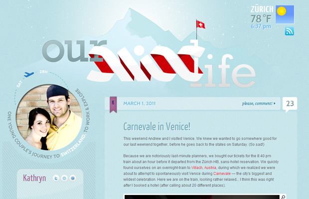 our swiss life website blue design