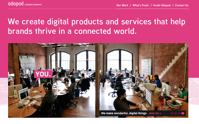 website homepage pink layout inspiring design