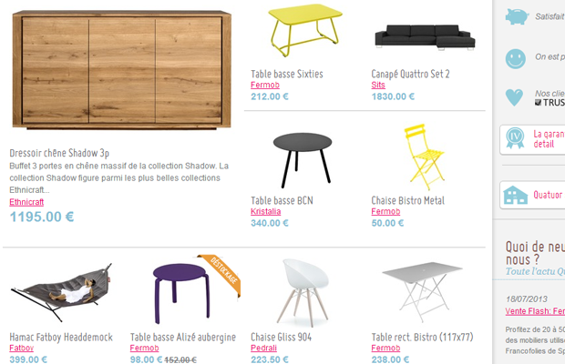 quatuor french shop ecommerce products list