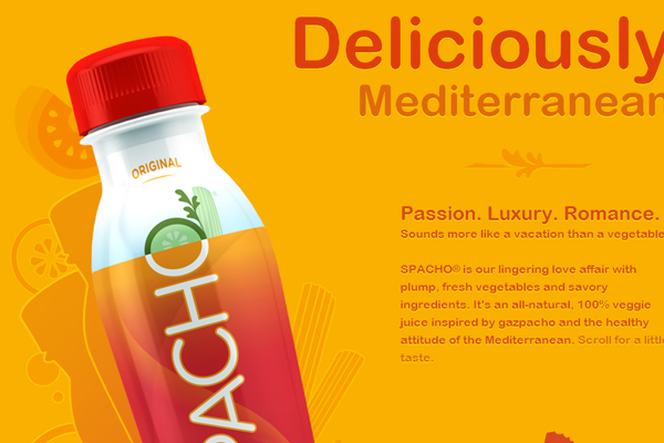 orange yellow Spacho website layout design portfolio