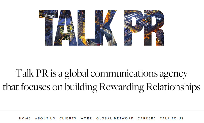 talk pr website agency layout inspiration