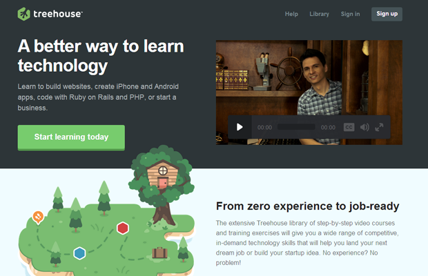 treehouse education webdesign landing homepage layout