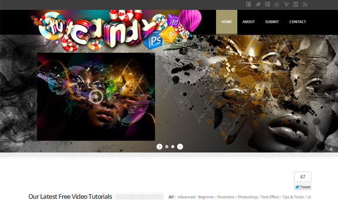 tutcandy tutorial website design header