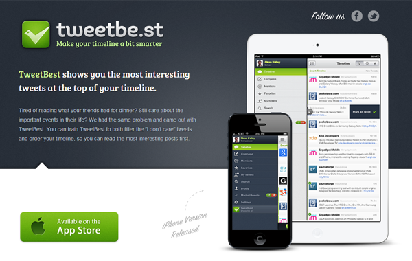 iPhone TweetBest landing website webpage