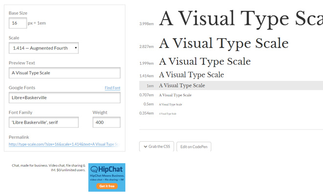 type scale web typography visual calculator