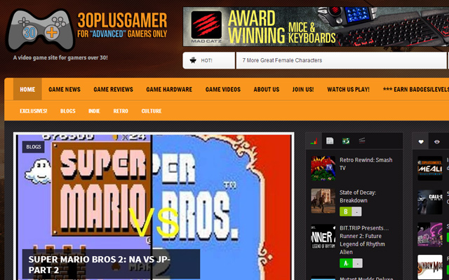 thirty plus gamer video game blog website layout