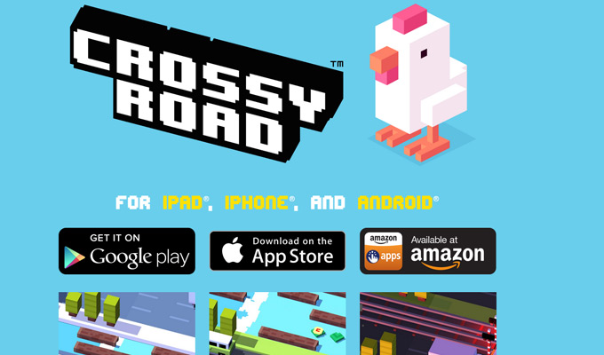 crossy road homepage landing design
