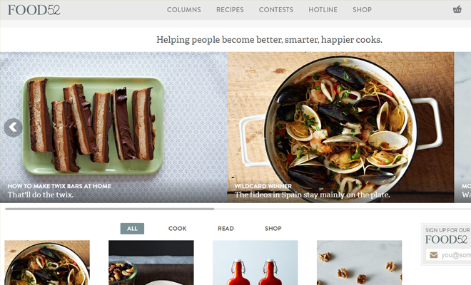 food52 community cooking website layout inspiration