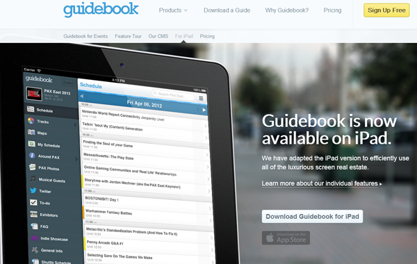 mobile ipad ios guidebook app websites