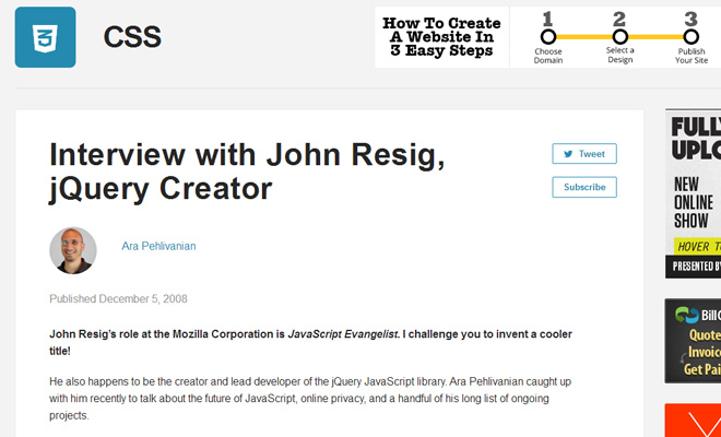 john resig sitepoint interview jquery development