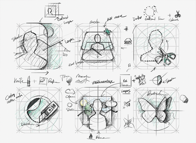 juxtaposer app icon design sketch work illustrations