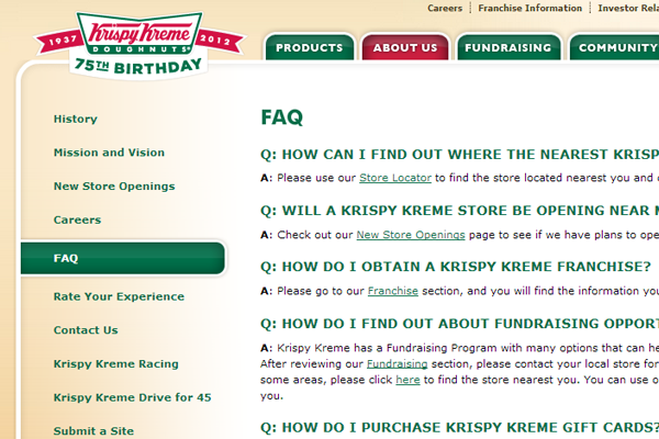 FAQ Questions suppot pages Krispy Kreme design webpage