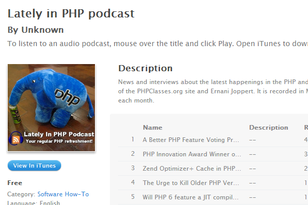 lately in php podcast radio tips