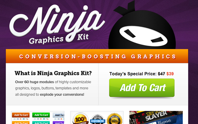 purple website ninja graphics kit ui design homepage