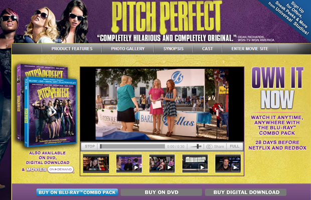 pitch perfect purple website movie layout