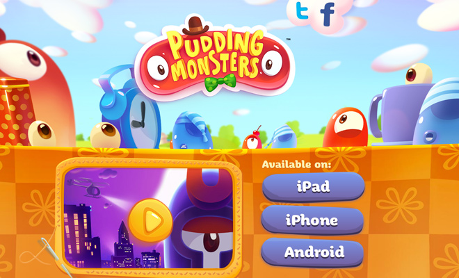 pudding monsters homepage vector artwork design