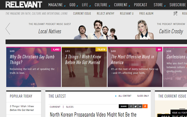 relevant websites magazine blog interface ui designs