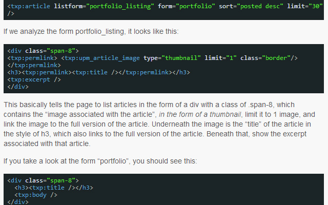 textpattern create portfolio website blog layout