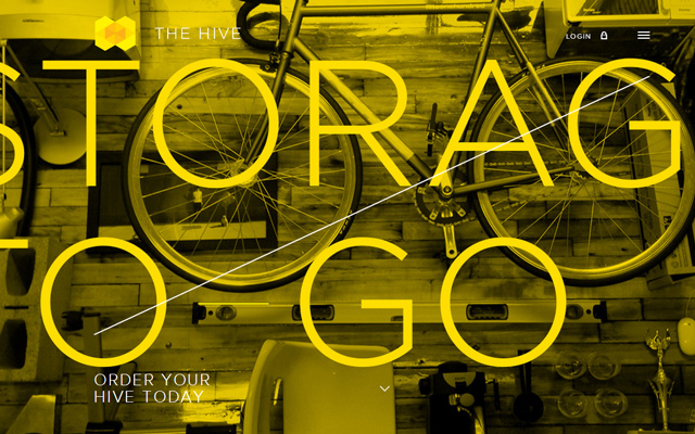 hive storage company yellow website layout