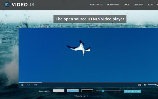 html5 javascript video player library website homepage plugin