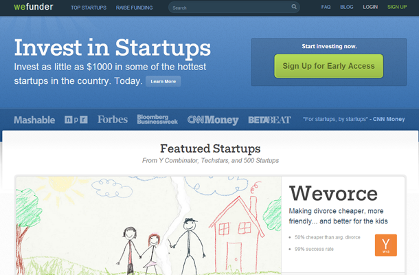 startup homepage wefunder capital angels