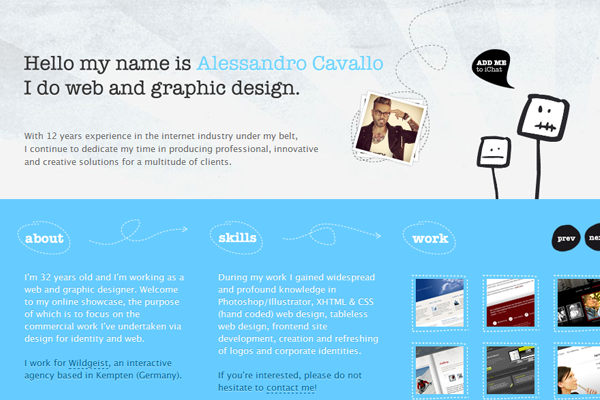 Alessandro Cavallo portfolio website layout