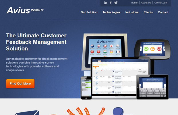 avius insight blue homepage layout
