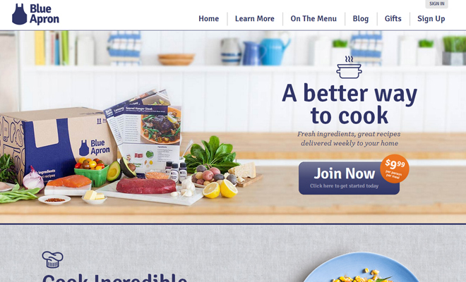 blue apron website layout homepage