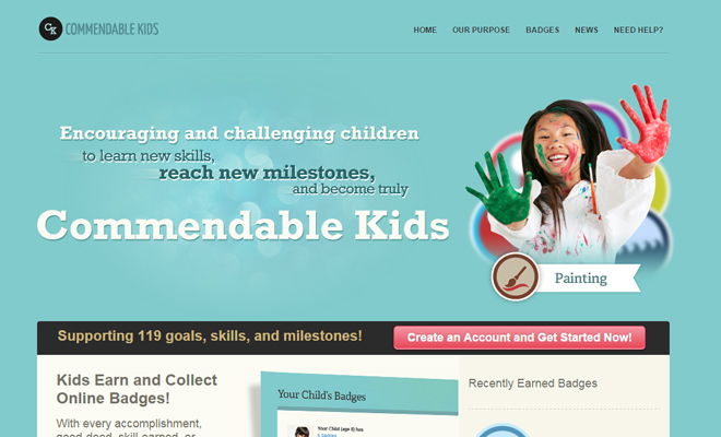 commendable kids website layout design