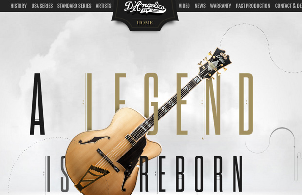 d angelico guitars website layout parallax