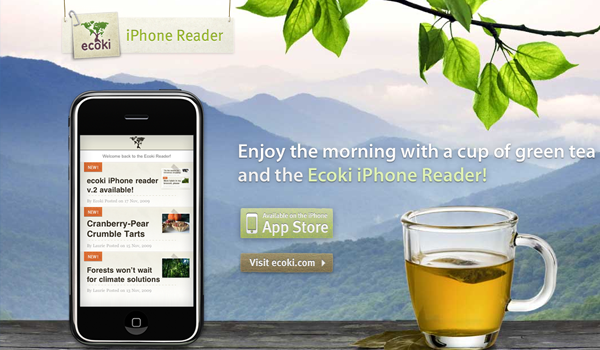 iPhone Ecoki app website layout