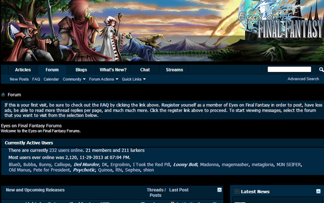 eyes on final fantasy forum website layout