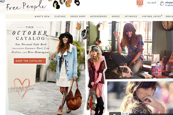 Free People Clothing Boutique website layout