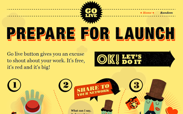 go live button yellow website design inspiration