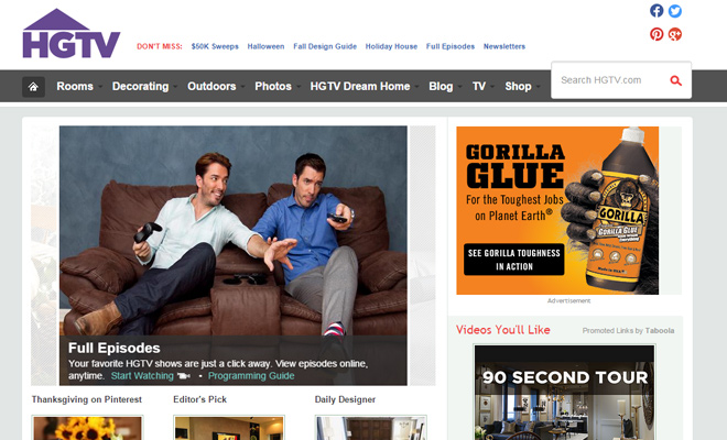 32 examples of tv network websites for design inspiration Home and garden tv channel
