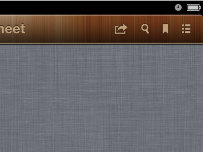 wooden texture toolbar iOS app