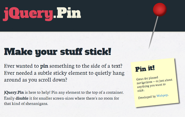 pin elements jquery website plugin fixed