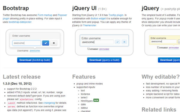 jQuery xeditable plugin freebie github open source