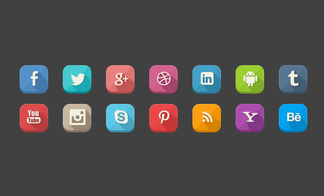 colorful squares social media icons set