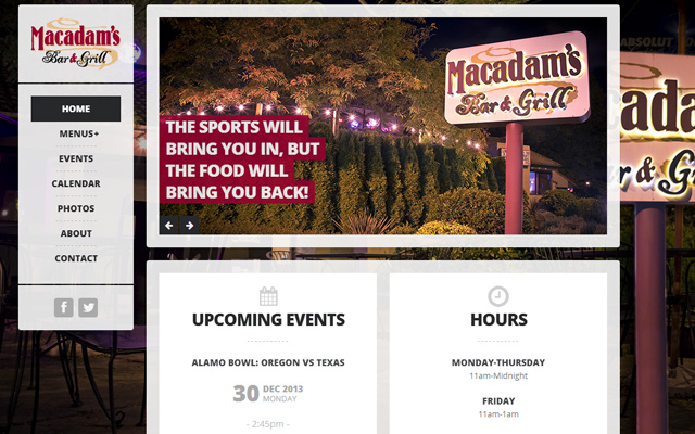 macadams bar grill website dark colorful layout