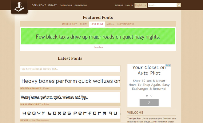 open font library webapp resource