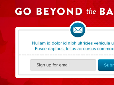 Dark red email newsletter signup form website layout